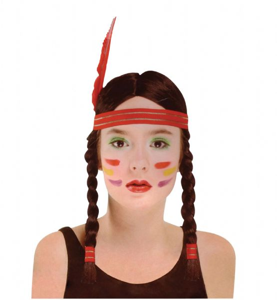 Ladies Indian Squaw Wig Native Wild West American Cowboys Fancy Dress